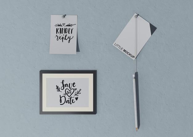 Varios diseños para guardar la invitación de boda fecha