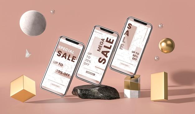 Varios teléfonos móviles maqueta 3d y formas geométricas