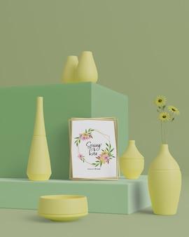 Vasi 3d per fiori sul tavolo con mock-up