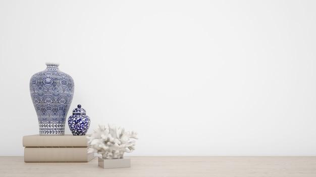 Vasi classici per arredamento d'interni e pareti bianche con copyspace