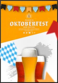 Vasos de cerveza oktoberfest con diseño plano