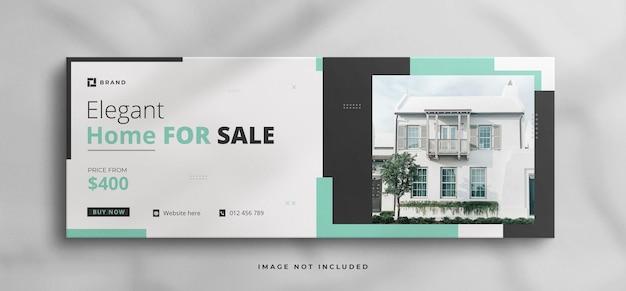 Vastgoed huis eigendom facebook cover of webbanner sjabloon met schone mockup