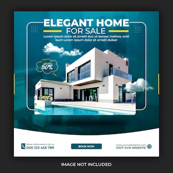 Vastgoed huis onroerend goed instagram post of vierkante webbanner promo sjabloon