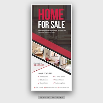 Vastgoedbedrijf modern huis te koop dl flyer-rekkaart ontwerpsjabloon psd premium psd