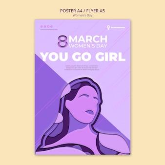 Vaya plantilla de póster del día de la mujer niña