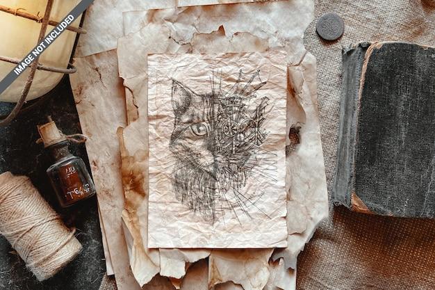 Vecchio foglio di carta sgualcito mockup
