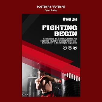 Vechten begint flyer print sjabloon
