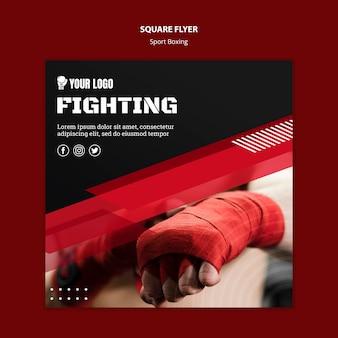 Vechten boksen vierkante flyer print sjabloon