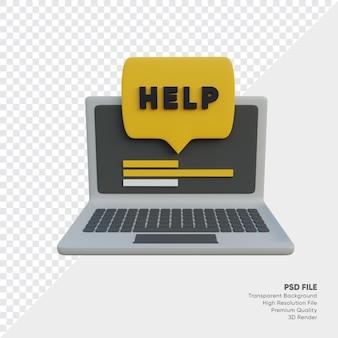 Veelgestelde vragen met hulp voor laptop en tekstballon