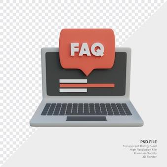 Veelgestelde vragen met laptop en tekstballon