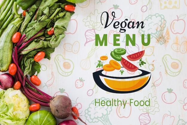 Veganistisch menu met exemplaar ruimteachtergrond