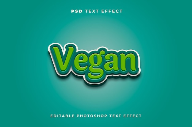 Veganistisch teksteffectsjabloon met groene kleur