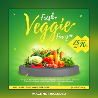 Vegatable social media post en veggie instagram postsjabloon