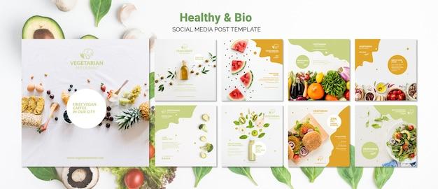 Vegetarisch restaurant sociale media post sjabloon
