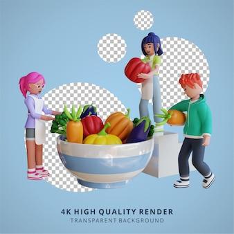 Vegetarische gezonde voeding en groenten maaltijd illustratie 3d-rendering