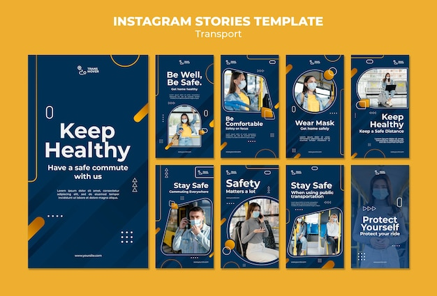 Veilig transport instagram verhalen sjabloon