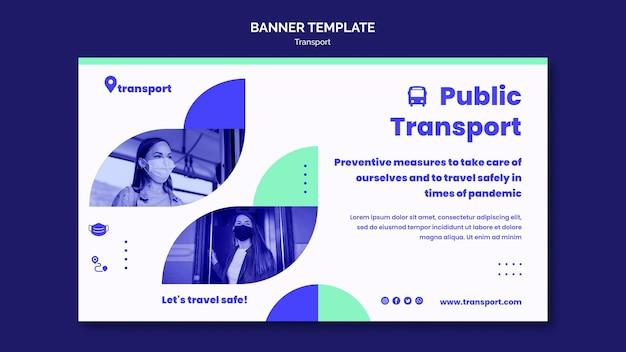 Veilige horizontale banner voor het openbaar vervoer Gratis Psd