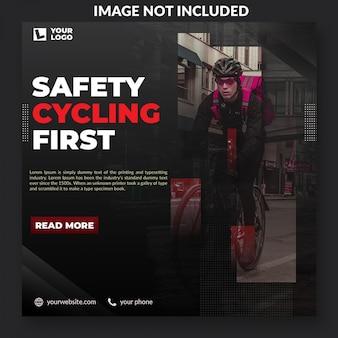 Veiligheid fietsen campagne social media postsjabloon
