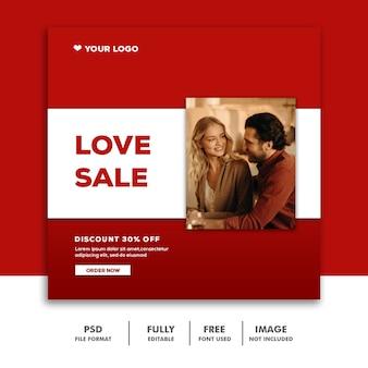Vendita di amore di instagram di valentine banner social media post