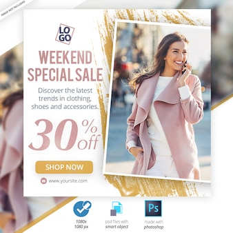 Vendita speciale weekend social media web banner