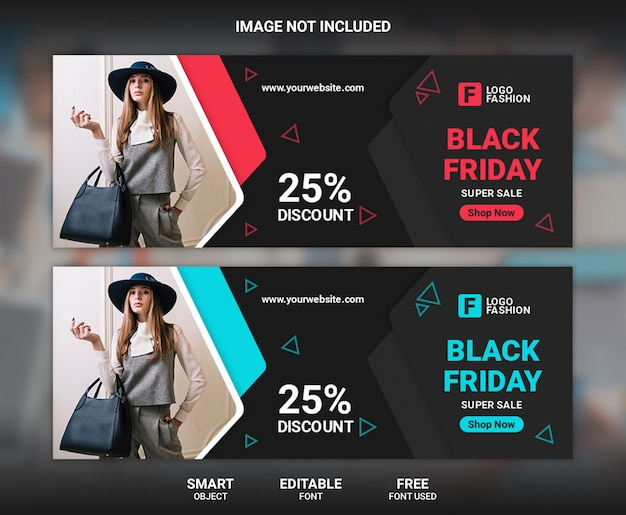 Venerdì nero moda modello di banner copertina facebook