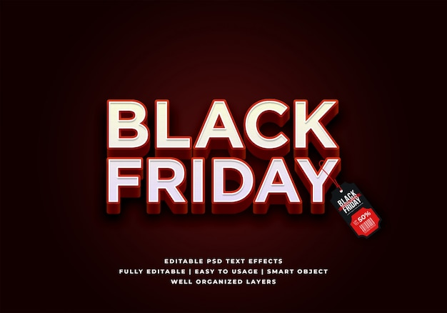 Venerdì nero vendita effetto stile testo