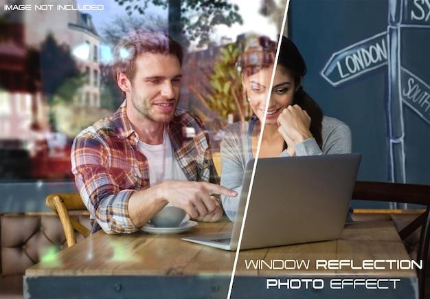 Vensterglas reflectie foto-effect mockup