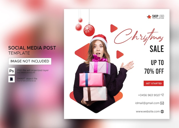 Venta de banner de navidad publicación de instagram premium psd