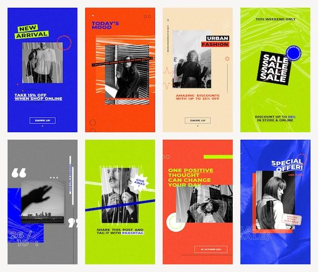 Venta editable y plantillas de conjunto de psd de historias de redes sociales con fondos de color retro