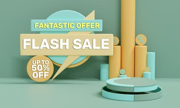 Venta flash 3d realista colorido