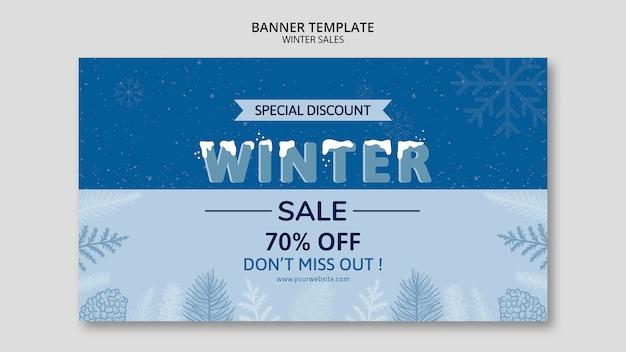 Venta de invierno en plantilla de banner