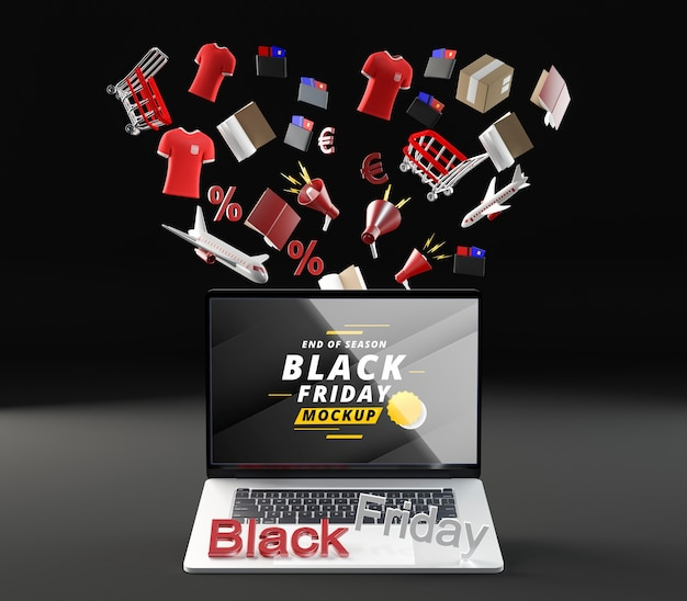Venta de maquetas de viernes negro de vista frontal fondo negro