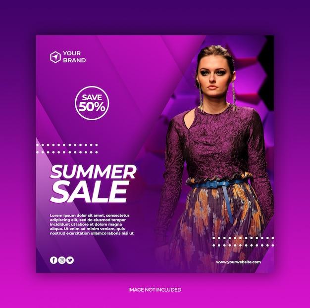 Venta de moda de verano publicación en redes sociales y plantilla de banner cuadrado web