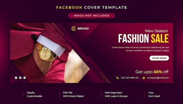 Venta de moda de verano publicación en redes sociales y plantilla de portada de facebook