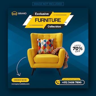 Venta de muebles exclusivos publicación en redes sociales y banner web.
