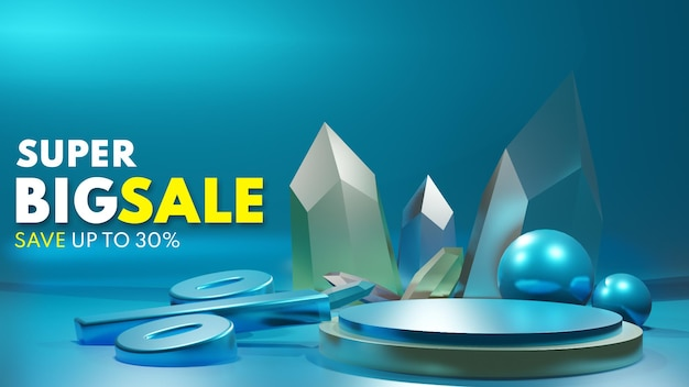 Venta de podio de producto azul diamante de metal de lujo de render 3d para la colocación de presentación de producto