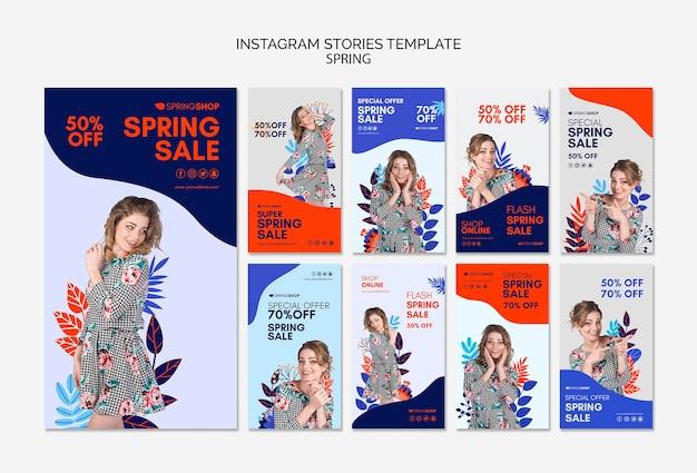 Venta de primavera de historias de instagram con mujer y hojas
