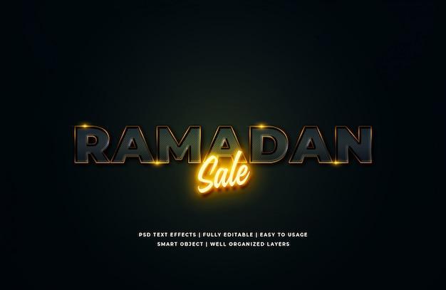 Venta de ramadán efecto de estilo de texto en 3d