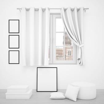 Ventana elegante con marcos de fotos en blanco alrededor