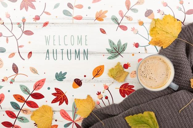 Ver para la temporada de otoño con mensaje de bienvenida