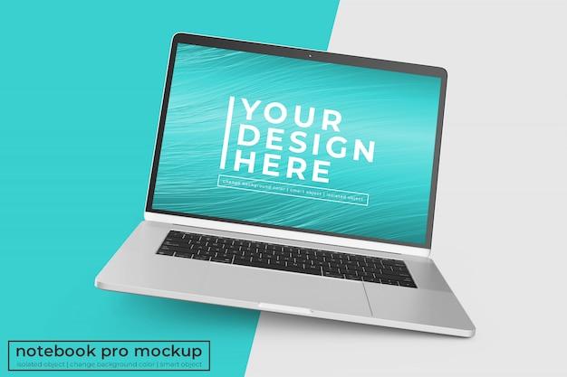 Veranderlijk hoogwaardig mobiel 15'4-inch laptop pro psd mockups ontwerp in een rechte hoekpositie