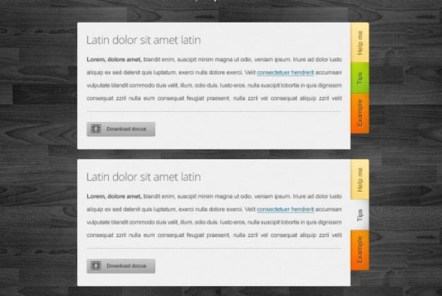 Verbazingwekkende tabblad blokken met download-knop