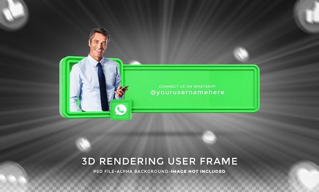 Verbind me op whatsapp sociale media onderste derde 3d-ontwerp render pictogrambadge met frame