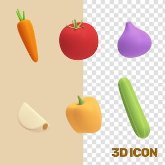 Verduras comestibles iconos 3d - 02