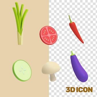 Verduras comestibles iconos 3d