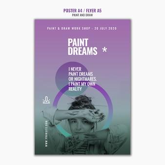Verf droomt poster sjabloon met foto