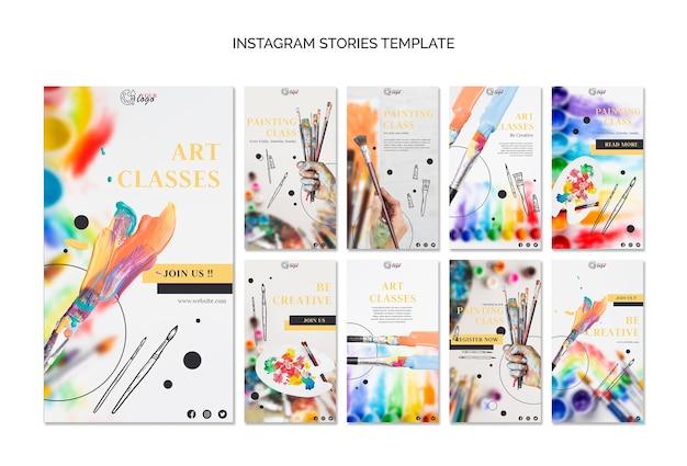 Verf en teken instagramverhalenmalplaatje