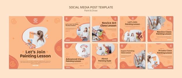 Verf & teken social media postsjabloon