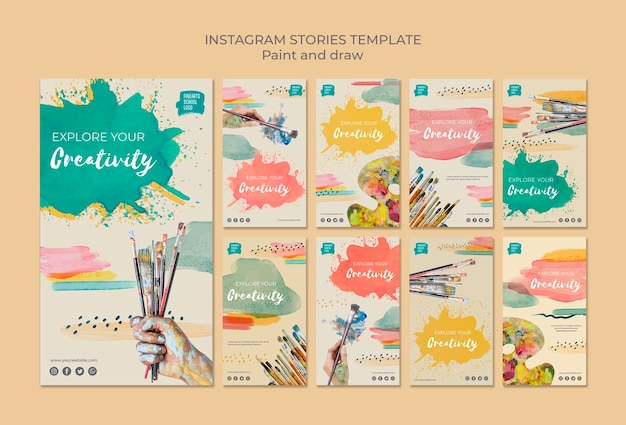 Verfborstels en kleuren instagramverhalen