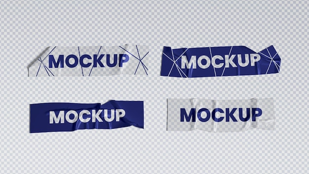 Verfrommeld transparant plakband set mockup